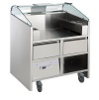 FREESTANDING MOBILE COUNTER WITH 2 REFRIGERATED DRAWERS. SUITABLE FOR 2 PLUG-IN APPLIANCES