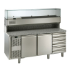 COOLING PIZZA COUNTER WITH SHOW CASE AND 6 DRAWERS
